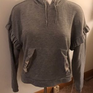 Topshop gray hooded sweatshirt